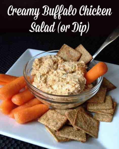 Lighter version of buffalo chicken dip or salad. 103 calories for 1/4 cup serving