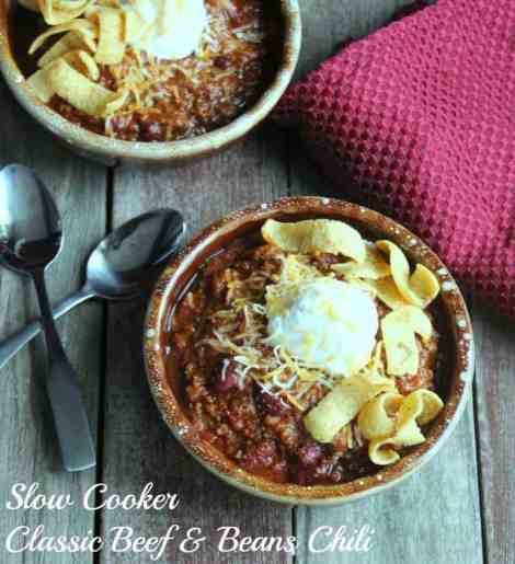 Slow Cooker Classic Beef and Beans Chili 378 Calories 9 weight watcher points plus