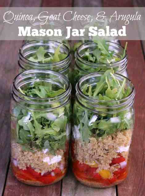Quinoa, Goat Cheese, and Arugula Mason Jar Salad 336 calories and 9 weight watchers points plus