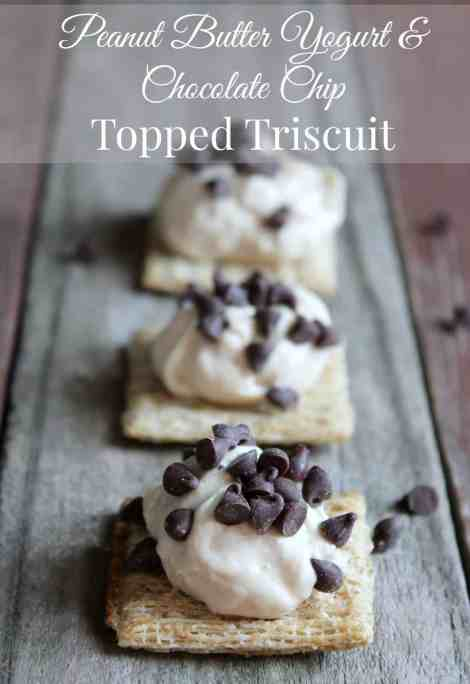 Peanut Butter Yogurt & Chocolate Chip Topped Triscuit 217 Calories and 6 weight watchers points