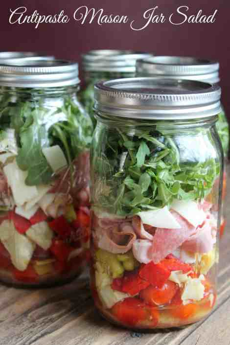 Antipasto Mason Jar Salad 347 Calories and 9 Weight Watchers Points Plus