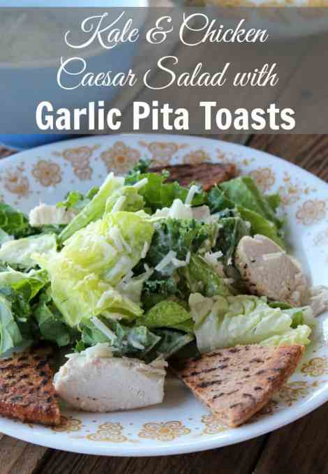 Kale and Chicken Caesar Salad with Garlic Pita Toasts 349 calories and 9 weight watchers points plus