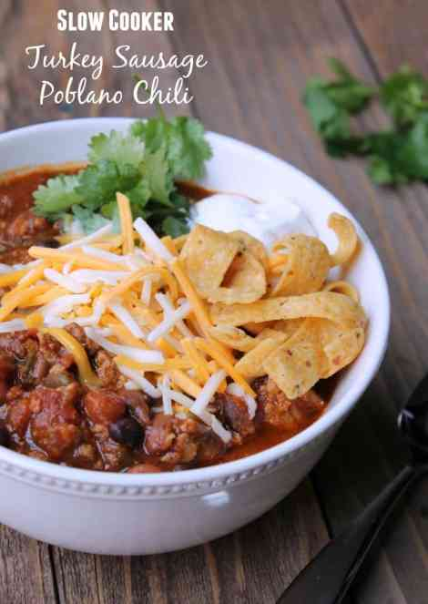 Slow Cooker Turkey Poblano Chili Recipe 306 calories and 7 weight watchers points