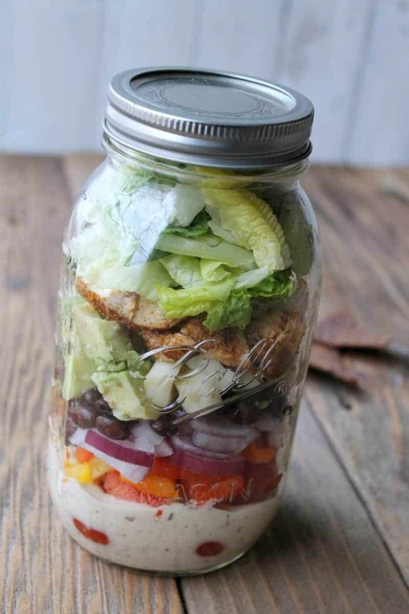 Southwest Ranch Chicken Salad In A Jar | Healthy Salad In A Jar Recipes