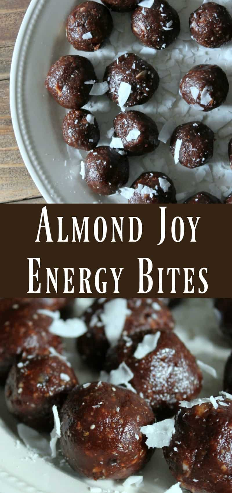 Medjool Dates processed together with chocolate, almonds, and coconut to create this delicious almond joy inspired energy bite.