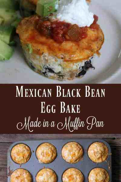 Healthy Mexican Black Bean Egg Bake Made in a Muffin Pan