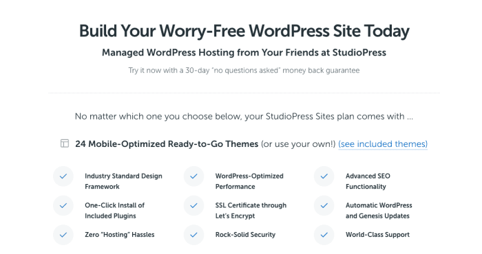 Studiopress managed hosting plan comparison