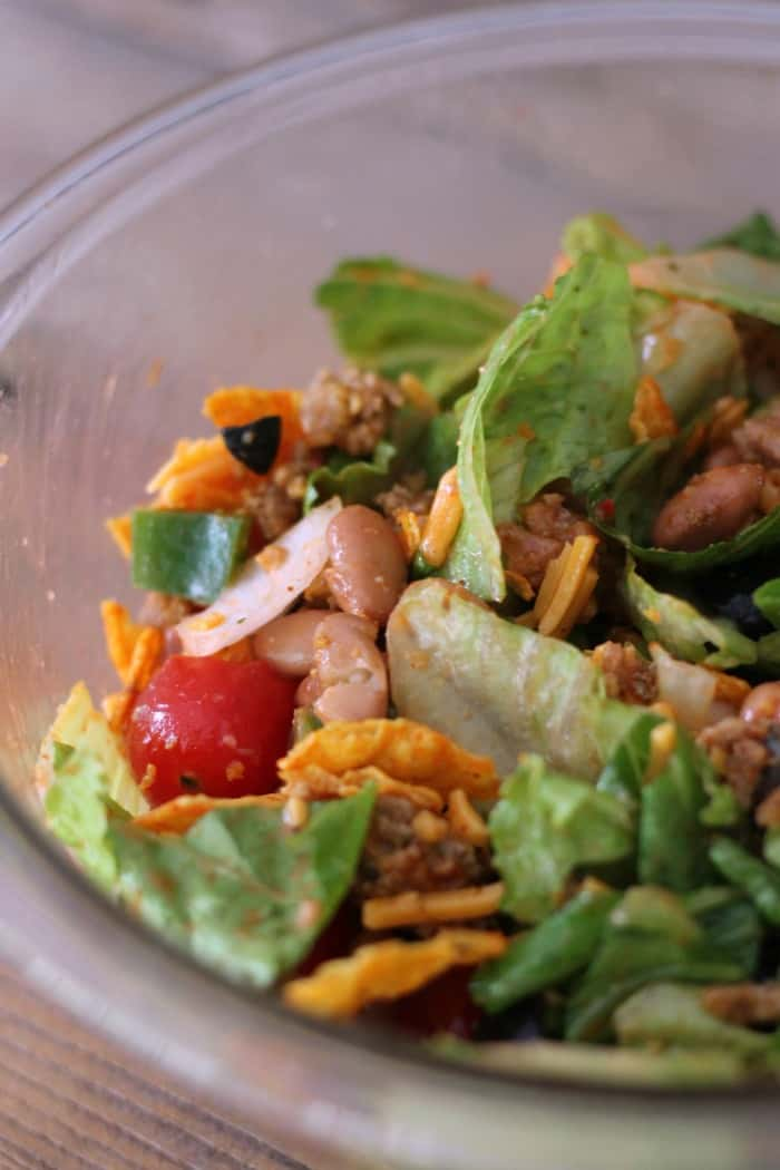 Dorito Taco Salad: Lightened-up salad in a jar recipe. Mason Jar Salad