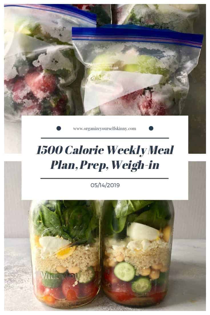 1500 Calorie Weekly Meal Plan, Food Prep, and Weigh-in {May