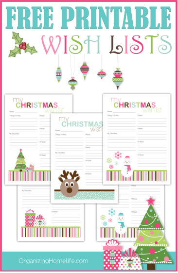 Free Printable Christmas Wish Lists Organizing Homelife