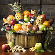 """""""fruit cheese chocolate red wine gourmet baskets"""""""