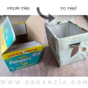 DIY diaper box to storage box