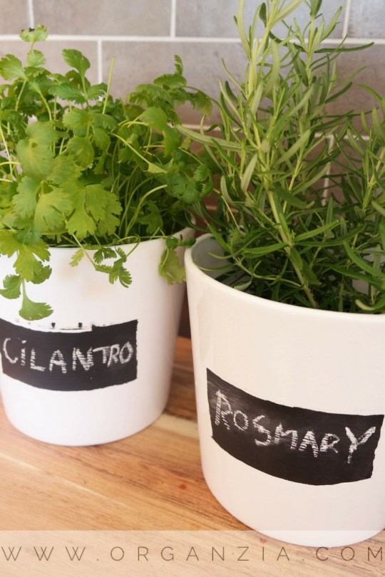 "DIY : ""The not so perfect"" herb pot planters w/chalkboard labels"