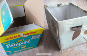 DIY Diaper box covered with fabric