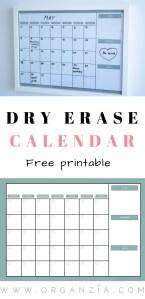 Dry erase calendar free printable
