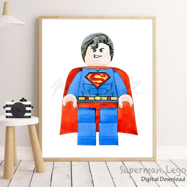 Lego superman art in frame