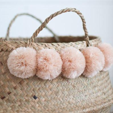 Blush Pom Pom Nursery Basket