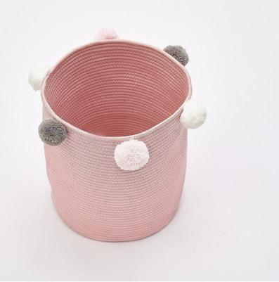 Pink toy storage rope basket