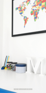 Desk with Lego Map art