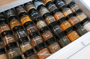 Organize spices in a drawer