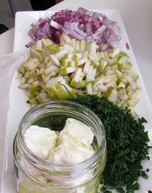 ingredients for pear and goat cheese bruschetta