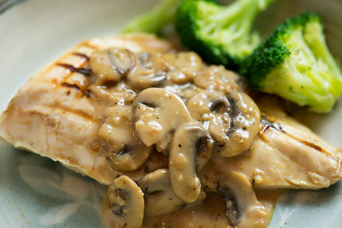 Sous Vide Chicken with Cream and Mushroom Sauce