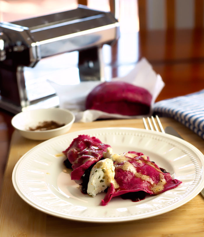 Pulled Pork Beetroot Ravioli