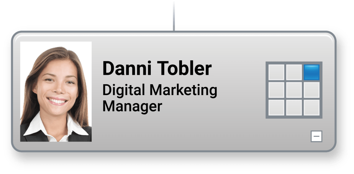 A box with Performance = 3 and Potential = 3. Danni is a high potential employee.