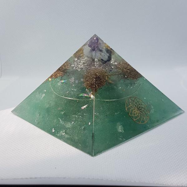WanderLust II Pyrite Silver OrgoneIt Orgonite Pyramid 9.5cm
