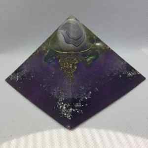 A Dream within a Dream Orgonite Power Giza Pyramid 9.5cm - Magical Banded Purple Agate, Crowned on top of four Titanium Aura Quartz, Brasss Tensor Ring, Rose Quartz and Herkimer Diamond to complete!