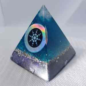 Deep Moving Waters Orgone Orgonite Pyramid 6cm - Celestite and Herkimer Diamonds a top with a hologram scalar shield with anti-radiation properties