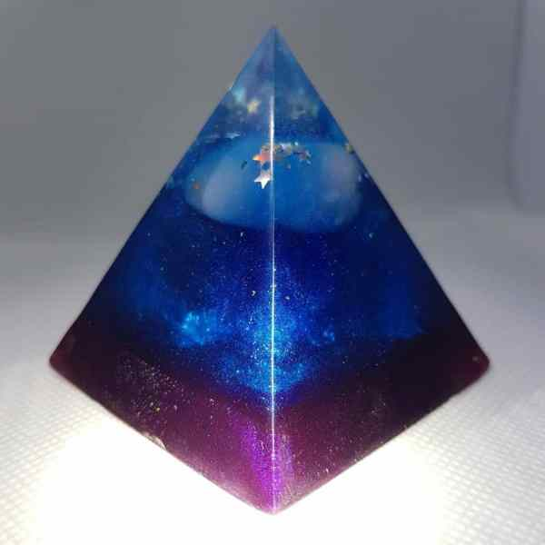 Hidden Strength Orgone Orgonite Pyramid 6cm - Rose Quartz chunk on top of a strong Tourmaline Brick of strength, Silver and Magnetite