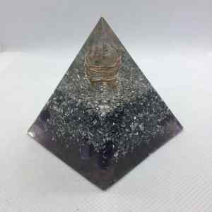 Silver Dreamer Orgone Orgonite Pyramid 6cm - Solid core of Clear Quartz wrapped in Copper, Aluminium and Silver Layer with Amethyst and Rose Quartz base