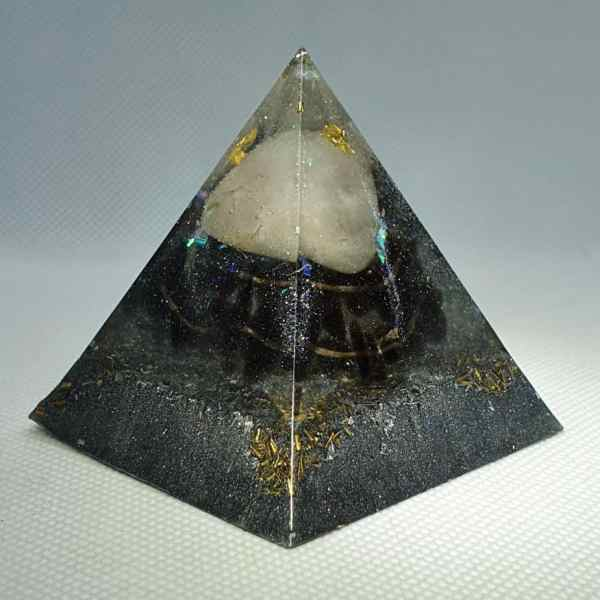 Rise Like Lions After Slumber Orgone Orgonite Pyramid 6cm - Herkimer Diamond, the great forgiver, on top of a large Rose Quartz chunk for love, followed by the awesome power of Smokey Quartz, on a bed of silver, brass and Shungite! A Power Orgonite!