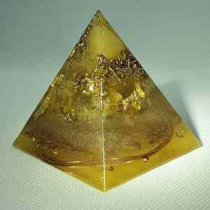 Feeling Alive and Free Orgone Orgonite Pyramid 6cm - Citrine, and more Citrine! All with herkimer diamonds, 24 Carat Gold, Brass and Copper... will help you feel free and alive!
