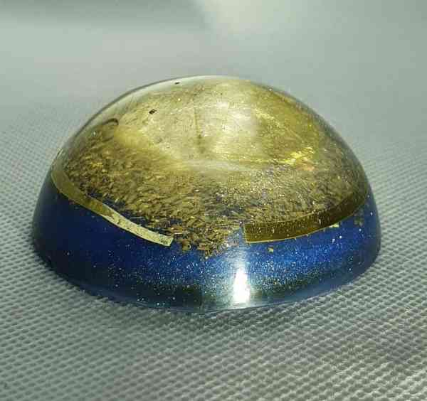 Blue Bayou Orgone Orgonite Orb - Large Golden Clear Quartz Point with Brass Goodness