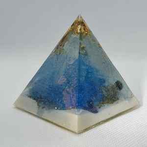 Timeless Creations Orgone Orgonite Pyramid 6cm - Clear Quartz, 24 Carat Gold Leaf, Jet, Amethyst underneath Herkimer Diamonds