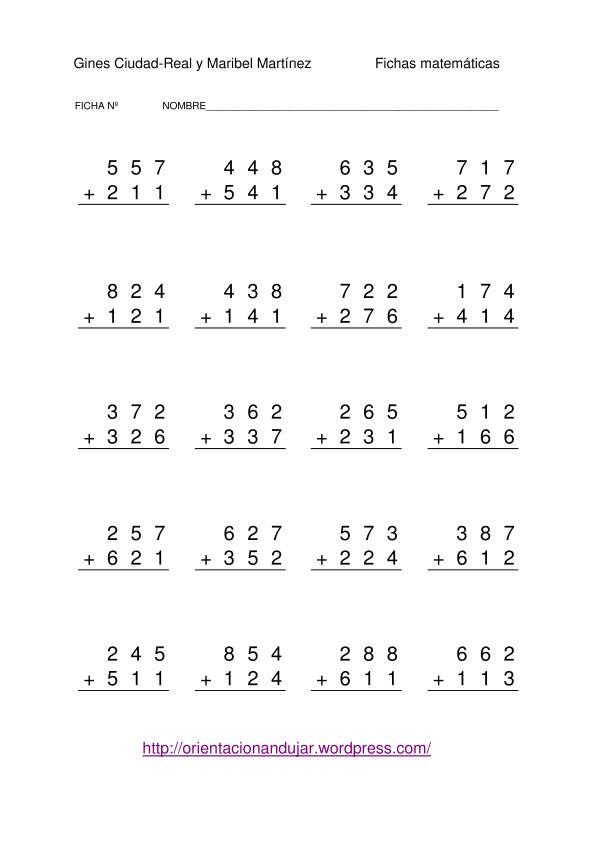 Sumas de tres cifras sin llevada -Orientacion Andujar