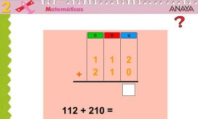 Sumas de 2 sumandos tres cifras sin llevada