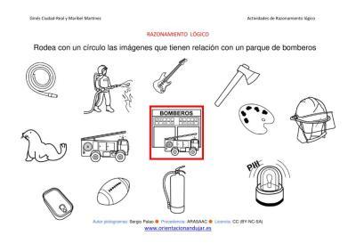 RAZONAMIENTO  LÓGICO categorizar y agrupar objetos parque de bomberos ByN imagen