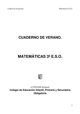 Matemáticas 3º ESO Cuaderno de verano IMAGEN