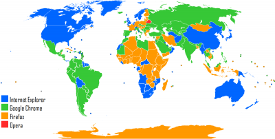 Mapa Mundial con los buscadores más empleados