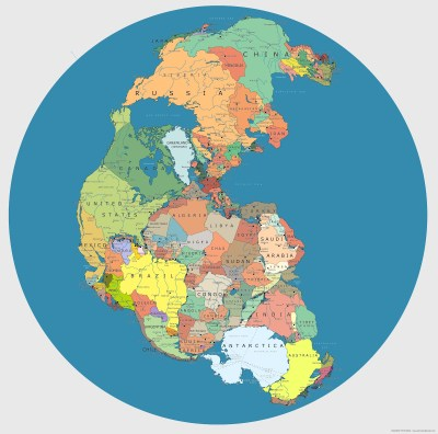 Mapa Político Mundial como Pangea Hace 200-300 millones de años