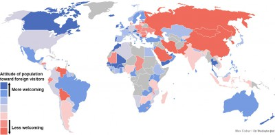 Mapa de los países más y menos acogedores para los extranjeros