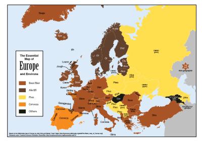 Nombres de cerveza en diferentes idiomas europeos