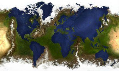 Un mapa del mundo que Invierte Tierra y Mar