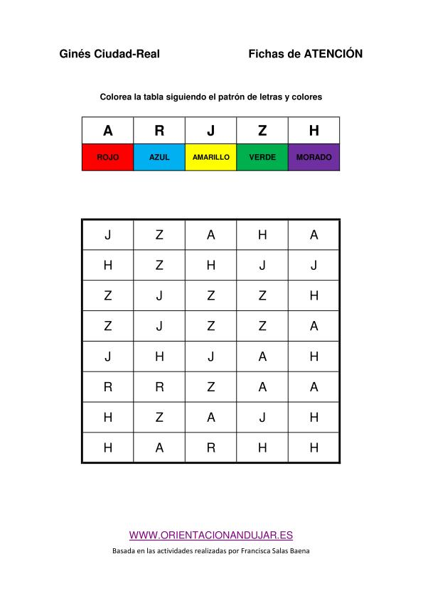 Colecci n de actividades de atenci n y estimulaci n cognitiva con plantilla editable - Colores para la concentracion ...
