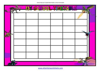 my school timetable 2 Dragons Riders of Berk editable cells image