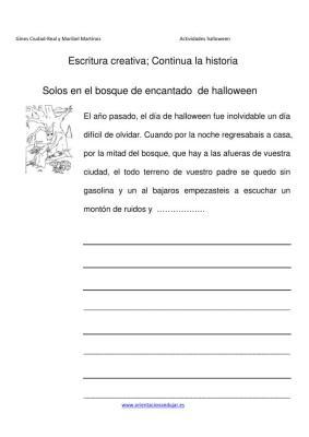 Escritura creativa continua la historia  el bosque de  Halloween IMAGEN