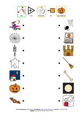 relaciona dibujos de halloween